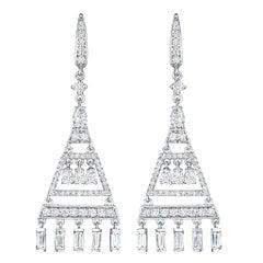 3 Carat Round Diamonds Chandelier Earrings 18 Karat White Gold