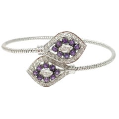 White Round Brilliant Diamond And Amethyst Flexible Bracelet In 18K White Gold.