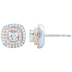 3/4 Carat Diamond Stud Double Row Earrings 18 Karat White Gold