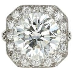 Platinum 10.05 Carat Round Brilliant Cut Diamond Engagement Ring EGL Certified