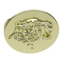10 Karat Green Gold Spotted Leopard Signet Ring