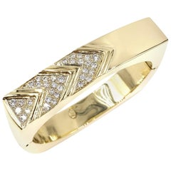 Yellow Gold Diamond Chevron Square Bangle Bracelet