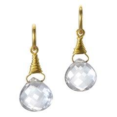 Amethyste Yellow Gold 22 Karat Gold 18 Karat Gold Hoop and Drop Earrings