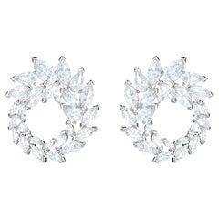 4 Carat Diamond Marquise Cut Caesar Style Earrings 18 Karat White Gold
