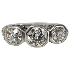 "Platinum 3 Diamond ""Art Deco"" Vintage Ring"