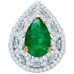 Estate GIA Certified 18 Karat White Gold 8.48 Carat Emerald and Diamond Ring