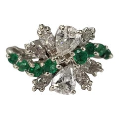 14 Karat Diamond and Emerald Cocktail Ring