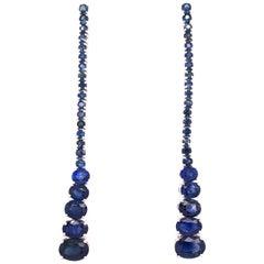 Ruchi New York Oval Blue Sapphire Drop Earrings