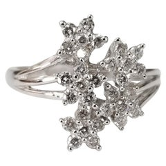 14 Karat Flower Diamond Cluster Ring
