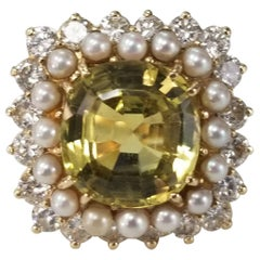 AGL Certified Natural Chrysoberyl Pearl and Diamond Ring
