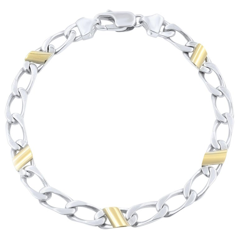 4d23b4e22 Tiffany & Co. 18 Karat Yellow Gold and 925 Sterling Silver Cuban Link  Bracelet For