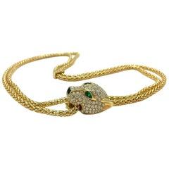 18K Yellow Gold 5.40 CTW Diamond & Emerald Adjustable Panther Necklace 40 Grams
