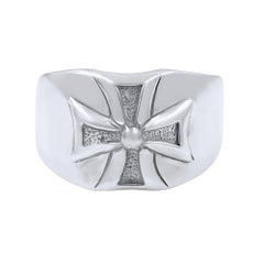 Sterling Silver Wide Cross Men's Ring