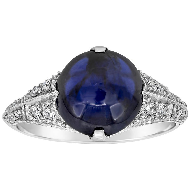 AGL Certified Round Cabochon No Heat Blue Sapphire and Diamond Ring For Sale