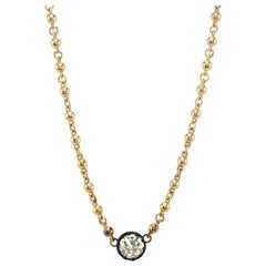 1.74 Carat GIA Certified Old European Cut Diamond on a 18 Karat Gold Chain