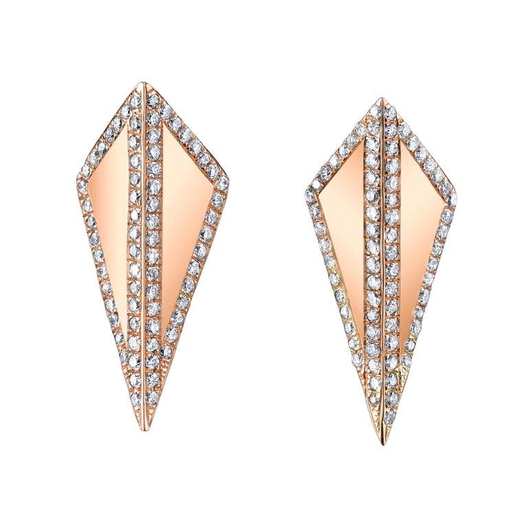 18 Karat Rose Gold Diamond Contour Isosceles Studs For Sale