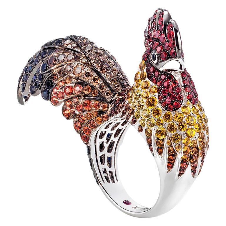 Rooster Gemstones 18 Karat White Gold Ring For Sale