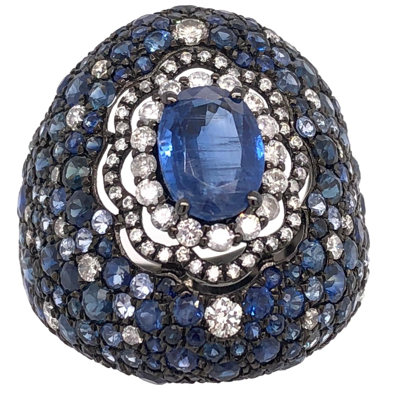 Ruchi New York Blue Sapphire and Diamond Dome Ring