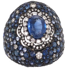 Ruchi New York Blue Sapphire and Diamond Dome Ring