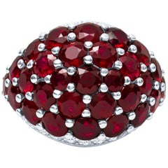 Platinum 12.92 Carat Natural Ruby and Diamond Dome Ring 16.5 Grams