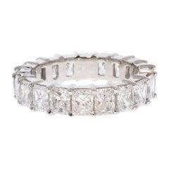 5.01 Carat Total Radiant Cut Diamond Eternity Wedding Band in Platinum
