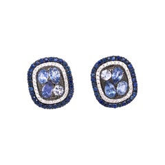 Ruchi New York Multi Shape Blue Sapphire and Diamond Stud Earrings