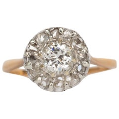 .53 Carat Diamond Yellow Gold and White Gold Engagement Ring