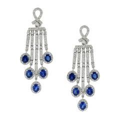 Blue Sapphire Diamond Chandelier Drop Earrings