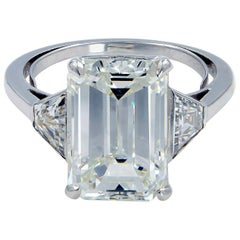 Three-Stone Emerald Cut 5.05 Carat Diamond Engagement Ring GIA Certified