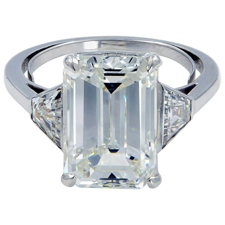 Three-Stone Emerald Cut 5.05 Carat Diamond Engagement Ring GIA Certified For Sale