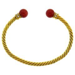 9e903091fbc Bulgari Coral Diamond Yellow Gold Bangle Bracelet, 1970s