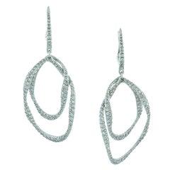 Diamond Double Hoop Drop Earrings