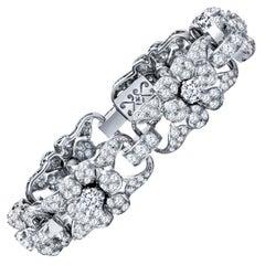 Estate Antique Art Deco Platinum 12.00 Carat Diamond Tennis Bracelet 44.2 Grams