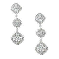Diamond Gold Cluster Chandelier Drop Earrings