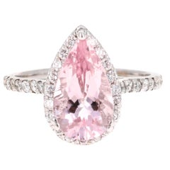 3.37 Carat Pear Cut Pink Morganite Diamond 18 Karat White Gold Engagement Ring