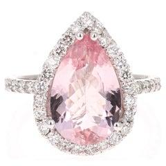 4.11 Carat Pear Cut Pink Morganite Diamond 18 Karat White Gold Engagement Ring