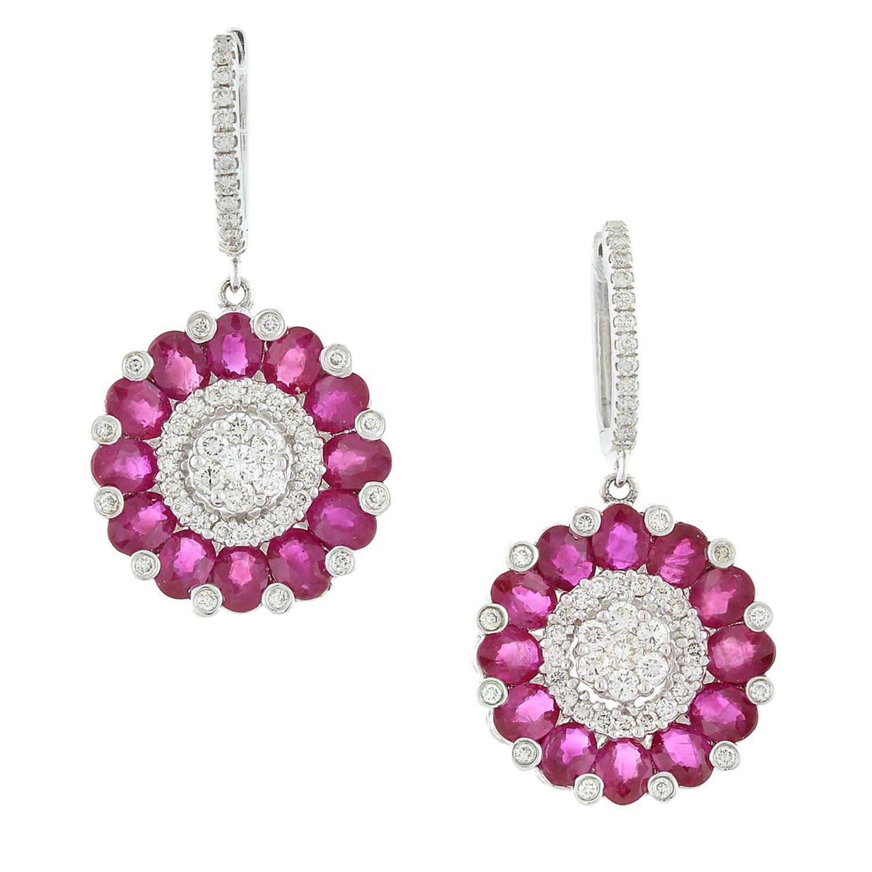 Ruby Diamond Gold Flower Cluster Drop Earrings