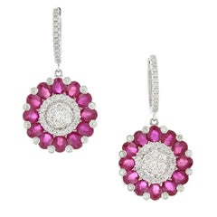 Ruby Diamond Gold Flower Cluster Drop Earrings