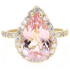 4.12 Carat Pear Cut Pink Morganite Diamond 18 Karat Yellow Gold Engagement Ring