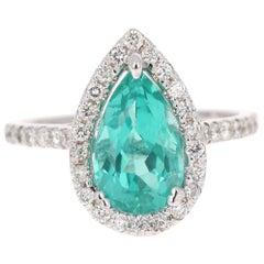 3.48 Carat Pear Cut Apatite Diamond 18 Karat White Gold Engagement Ring
