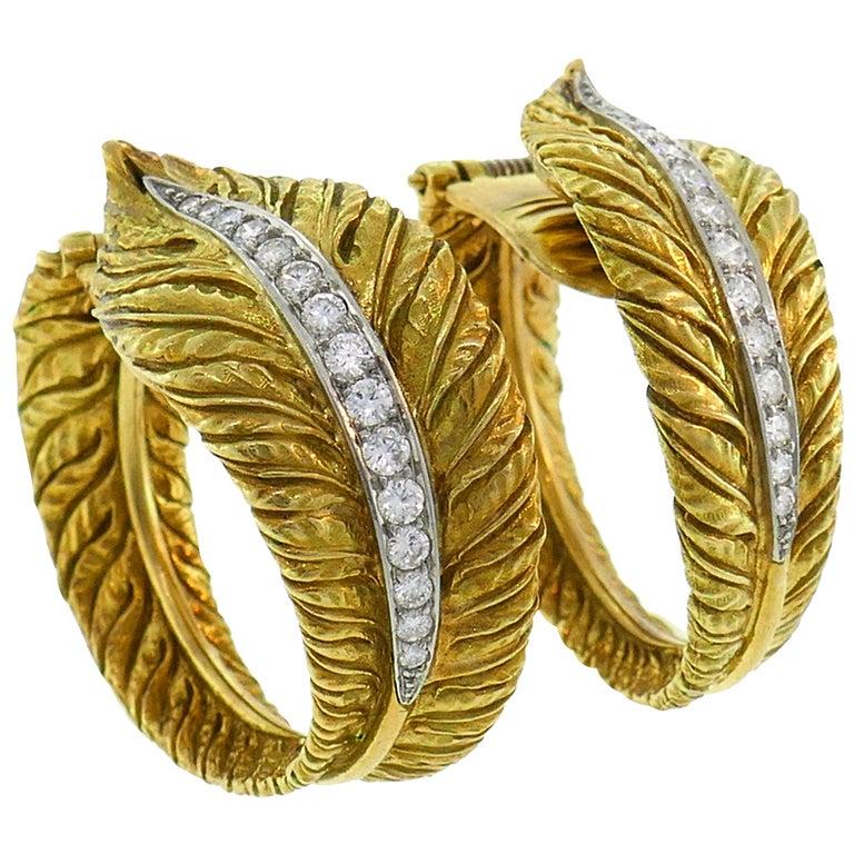 Diamond Yellow Gold Hoop Earrings, 1980s For Sale