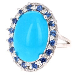 7.45 Carat Turquoise Sapphire and Diamond 14 Karat White Gold Cocktail Ring