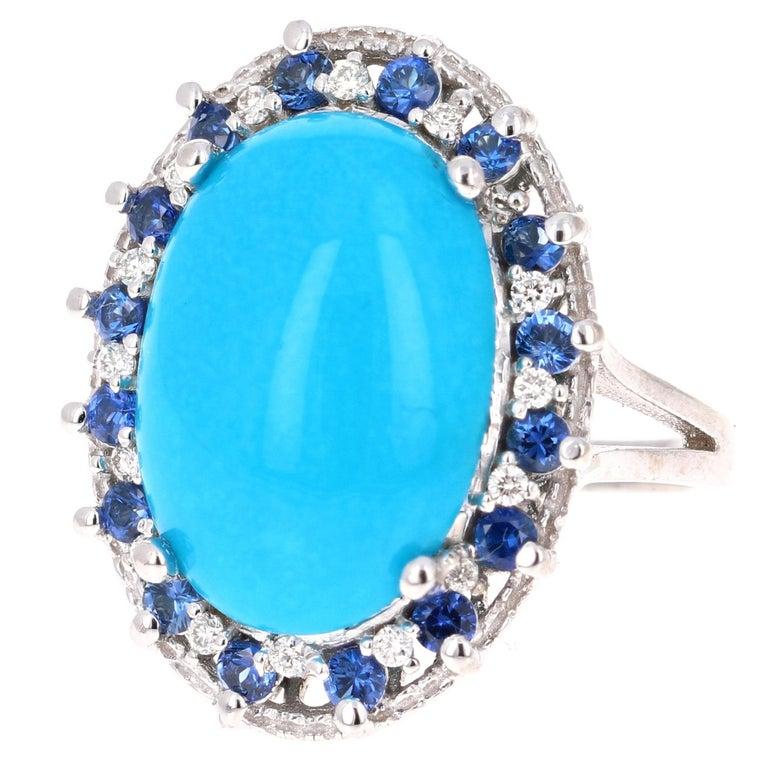 7.45 Carat Turquoise Diamond White Gold Cocktail Ring