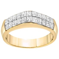 Invisible Set Diamond Gold Ring