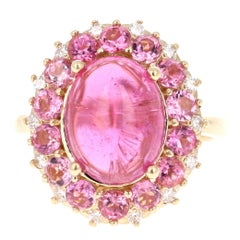 7.82 Carat Pink Tourmaline Diamond 14 Karat Yellow Gold Cocktail Ring