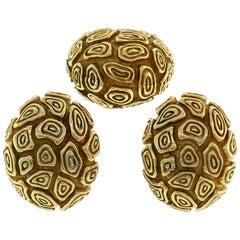 Van Cleef & Arpels Yellow Gold Ring Earrings Set 1980s Clip-on