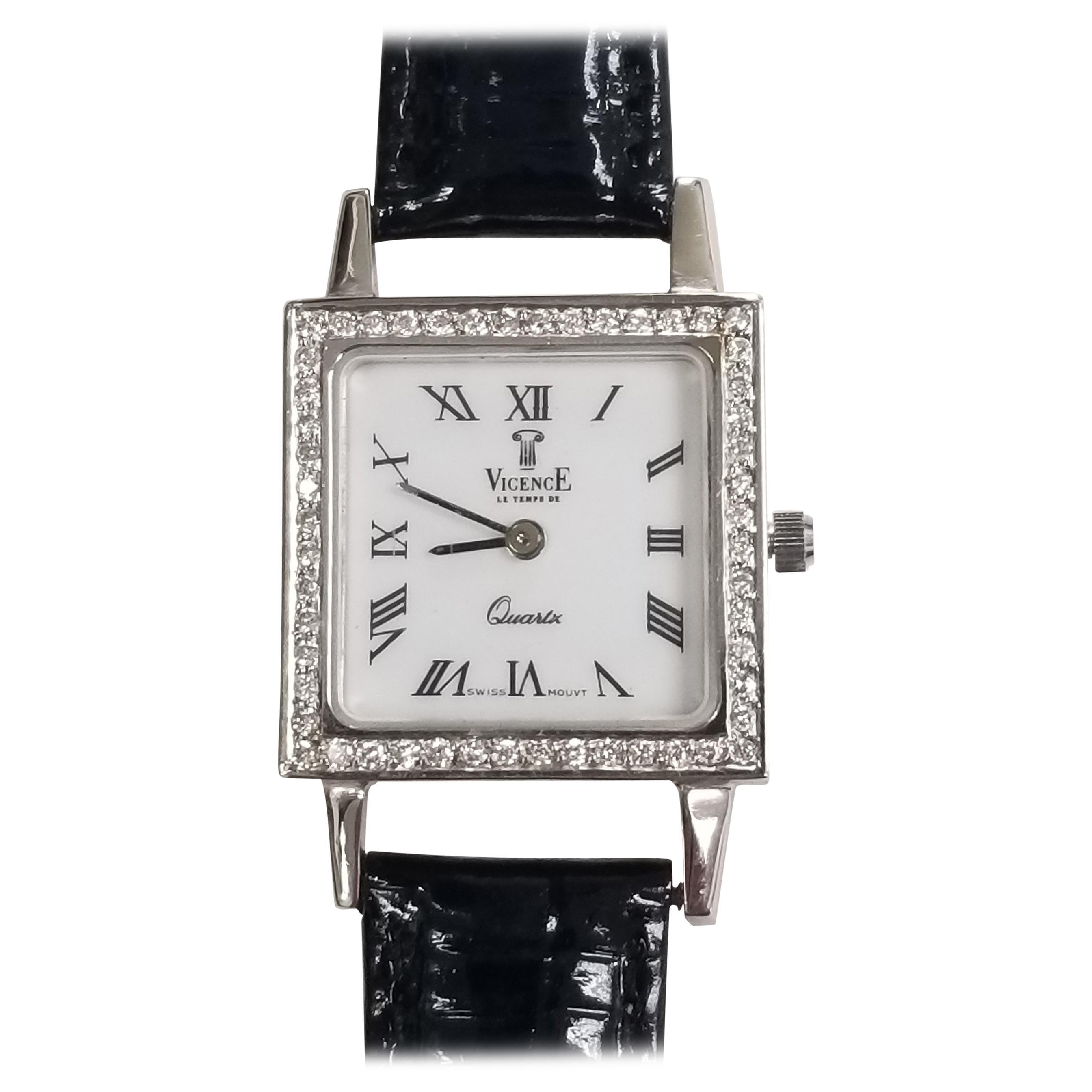 """14 Karat White Gold """"Vicence"""" Le Temps De Ladies Diamond Watch"""