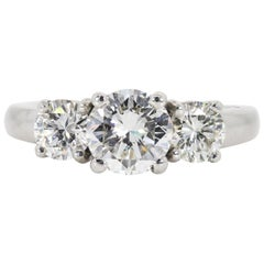 1.57 Carat Three-Stone Diamond Platinum Ring