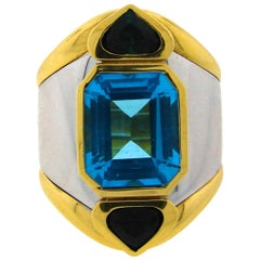 Marina B Gold Ring with Blue Topaz Green Tourmaline 1980s