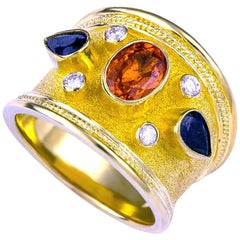 Georgios Collections 18 Karat Yellow Gold Diamond Ring with Multicolor Sapphires